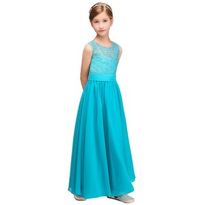 New Flowers Girl Dresses Ocean Blue Sleeveless With Sashes Elegant Lace Flower Bow First Communion Party Formal Dresses for Wedding