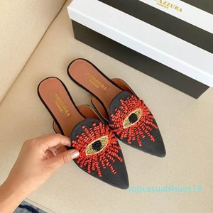 2020 New Men Women Slippers Pointed Toe Flat Mules Shoes Luxury Designer Shoes Wild Comfortable Fashion Travel Shopping t14