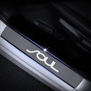 Per fibra di carbonio Kia Soul Protector soglia della porta riflettente 4D Sticker portello della protezione del bordo interno rosso della decorazione interna dell'automobile auto dicembre FnFu #