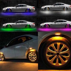 4PCS سيارة مركبة الحاجز ضوء عجلات الحاجب LED ستروب ضوء 3 طرق مصباح زينة صور صمام كاب فلاش تكلم