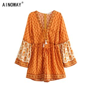 Vintage Chic Women Floral Print rayon Sashes Boho Playsuits Ladies V Neck Long Sleeve Tassel Beach bohemian Jumpsuits