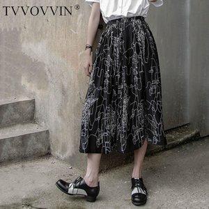 Korea Print Pattern Skirt Fashion New Women Elastic Waist 2020 Summer Loose Small Fresh Casual Style Minority Skirt ZP1209