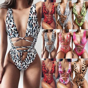 2020 foreign trade new bikini conjoined bikini leopard pattern hollowed bandage one-piece swimsuit A992