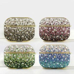 Fashion Glitter Strass-Kopfhörer-Kasten für Airpods 1 2 harter PC Schutzhülle für Apple Airpods Pro3 Gradient Diamant-Abdeckung