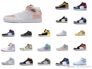 SnakeaskinИорданияРетро 1 желтый мужчин баскетбольной обуви высокого качества, тренеров 1S OG игры Royal Blue White черные мужские спортивные туфли 7372