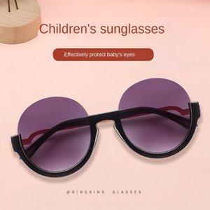 2020 new sun sun fashion round half frame children's sunglasses fashion metal children's glasses