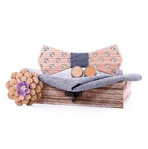 Gravatá деревянный брусок Bow Tie Handkerchief Запонки Tie Set Мужская Wood Платок Wood Box Мода