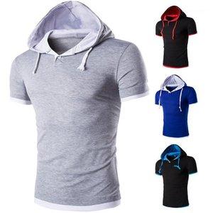 Vestiti di estate Mens magliette di marca solido colore stampato con cappuccio Maglie a manica corta Mens 2020 Luxury Designer
