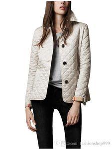 Wholesale- Women Jackets Plain Autumn Cotton Coat Padded Casual Coat Jacket Fashion Outerwear Plaid Quilting Padded Parkas
