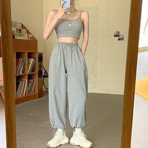 Ter Pantolon Kore Stil Gevşek Koşu Sweatpants Kadın Gri Yüksek Bel Koşucular Pantolon Yeni Harun Pantolon Günlük Moda Harem