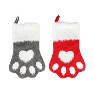 Meias bonito Presentes Dog Paw Meia de Natal das crianças das crianças Xmas bolsas dos doces decorações do partido Árvore de Natal Home DHC339 decorativa