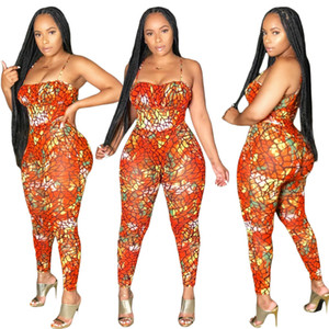 2020 summer New Clothing Cheap China wholesale European and American Women's Jumpsuits Sexy suspenders printed bright color jumpsuit