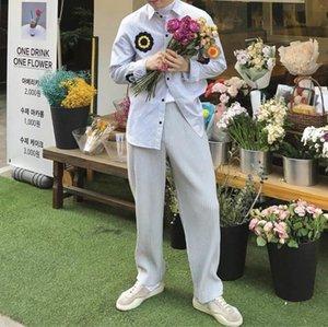 HOT SELLING Miyake fold wen Style fashion solid men Wide leg pants IN STOCK