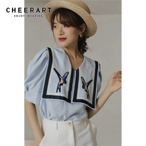 CHEERART Puff Sleeve Bird Embroidery Blouse Women Blue Button Up Shirt Summer Loose Blouse Sailor Collar Designer Top 2020