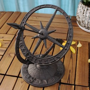 Round Cast Iron Roman Calendar Sundial Ornaments Lawn Garden Yard Desk Home Arts Decor Sundials Vintage Metal Crafts Gift Retro T200709