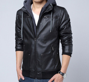 Fake Two Pieces Men Jackets Detachable Leather Long Sleeve Man Jacket Designer Winter Autumn Stand Collar Homme Biker Coats