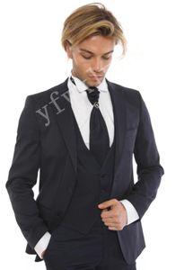 Custom-made Peak Lapel Groomsmen One Button Groom Tuxedos Men Suits Wedding Prom Dinner Best Man Blazer(Jacket+Pants+Tie+Vest) W233