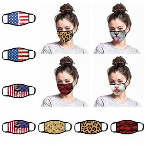 America flag Face Mask Cartoon Printed Reusable USA 3D leopard animal print Anti Dust Washable Outdoor Mouth Cover Designer Masks LJJA4017