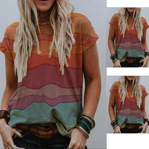 Short Sleeve Womens O Neck Contrast Color Top Summer Ladies Loose Tee Womens Designer Striped Tshirts Fashion
