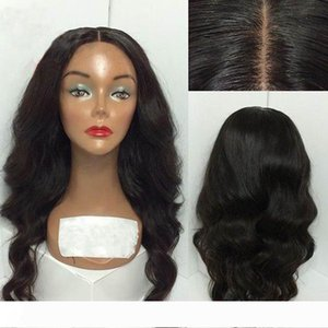 MHAZEL Middle Part 18inches Glueless Long Wavy Synthetic Full Lace Front Wig Black Hair Heat Resistant