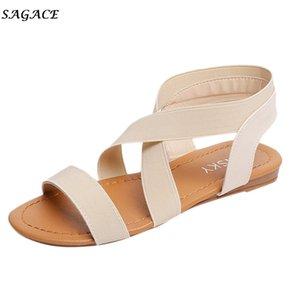 SAGACE Shoes New Design Peep-toe women Summer Beach Sandals Girl Lady Holiday Anti Skidding Stretch Cross Fabric Strap Sandals Y200619