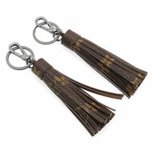 Sac bricolage voiture Pendentif porte-clés en cuir mat PU Tassel Porte-clés Porte-clés Bague pour Femmes Filles Mode Sac floral Charm Keyring Bijoux