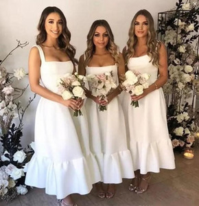 Tea Length Maid of Honor Dress Satin Sexy Square Straps Sleeveless Bridesmaid Dress Elegant A Line Wedding Party Gowns