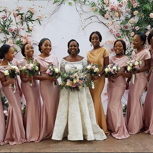 Elegant Short Sleeve Pink Bridesmaid Dresses 2020 Plus Size African Maid Of Honor Gowns Mermaid Formal Wedding Guest Party Dress