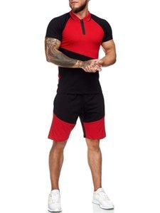 Summer Fashion Men Track Suit 2 Piece T Shirt + Shorts Set Man Sport Suit Casual Patchwork Slim Fit Men's Tracksuit Sets T200709