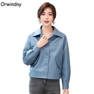 La chaqueta de cuero de piel azul dulce Orwindny nueva llegada de las mujeres por la chaqueta de las muchachas Mujer Office Lady ropa de alta calidad