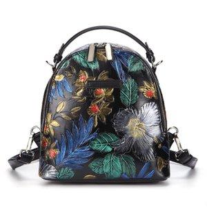 ABER peint à la main Petit Voyage Sac à dos 2020 New Retro en cuir véritable sac à bandoulière en cuir de vache embosser femmes Mini sac à dos