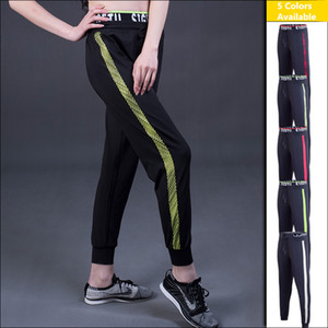 Women Sports Pants Running Fitness Yoga Quick Dry Elastic Female Trainning & Exercise Black Patchwork Trousers