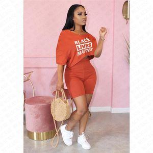 Women Tracksuit Designer Letters BLACK LIVES MATTER Off Shoulder T Shirt Crop Top Tee Shorts 2 Pieces Outfits Summer Sports Suit S-XXL D7615