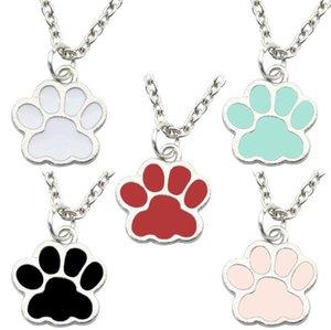 Émail Pet Paw Imprimer Colliers Pendentif animal Pet Memorial amant de chiot de patte de chat Mark chaîne collier pour femmes Bijoux fille Accessoires