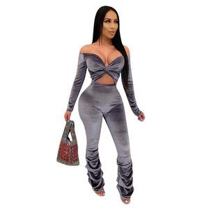Gestapelte Pants Women Jumpsuits Sexy tiefen V-Ausschnitt aushöhlen Jumpsuits Designer Natural Color Bodysuit Frauk