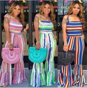 S-3XL Mujeres rayas pierna ancha pantalones de verano borlas strapes mameluco de campana Mono Trouses plisado Plisse Playsuit Boutique Cloth LY721