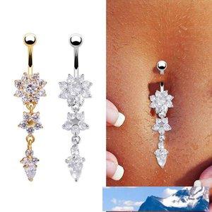 Flower Crystal Rhinestone Navel Belly Button Ring Bar Dangle Body Piercing Jewelry