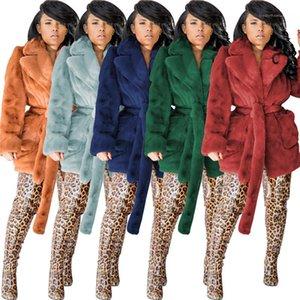 Pelz Gürtel Cardigan Fleece Fest Farbe Winter-Frauen Fur Langarm Revers Hals Wärme Thick Womens Designer Faux