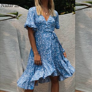 Nadafair Short Sleeve Blue Women Floral Summer Dress V Neck Lace Up Ruffles Beach Midi Boho Dresses