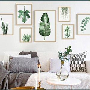 Planta Verde Digital Pintura Pintura moderna Sofá de la pared decorativos Arte cuadro pintado n marco de la pintura decoración del hotel AC Draw BH1496
