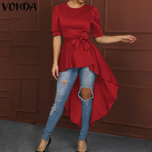 VONDA Tunic Women Asymmetical Shirts Vintage Sexy Belt Party Tops 2020 Summer Holiday Tops Casual Long Blouse Plus Size S-5XL Y200622