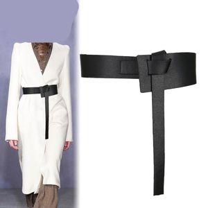 2020 Новой мода дизайнер Knotted пояса Женщина Широкий кожаный PU Cummerbunds платье лук пряжка Tide