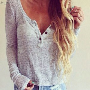 Womens Clothing Hot Sexuality Womens Deep V Loose Casual Long Sleeve Shirts Knitwear Jumper Tops Sweater Drop Shipping