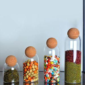 الكرة الفلين الخالية من الزجاج خالية من الزجاج خزان تخزين علب مختومة الحبوب المجففة الحبوب الشاي الشفاف علب تخزين الجرار القهوة