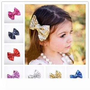 Baby barrettes new Europe and cute girls children sequins hairpin large bow hair jewelry