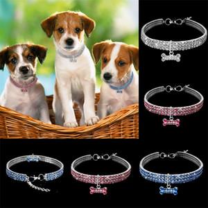 3 rangées strass élastique force Colliers cristal collier Laisse fournitures pour animaux chiens Bijoux de la chaîne Tag 9 9cz D2 multicouleur