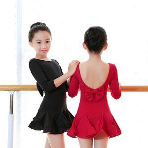 Kızlar Latin Dans Elbise Çocuk Çocuk V-Geri ilmek Salsa Tango Ballroom Dance Kostümler
