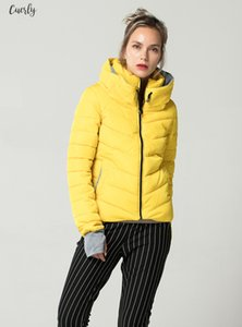 Women Yellow Autumn Winter Jacket Stand Collar Cotton Padded Female Basic Jacket Outerwear Regular Coat Chaqueta Mujer Ficusrong