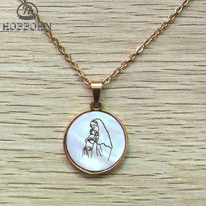 HOBBORN Classic Christian Women Necklace Virgin Mary and Baby Prayer Female Men Necklaces & Pendants Stainless Steel Jewelry
