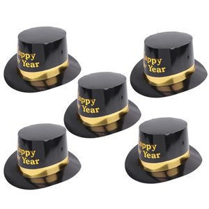 5pcs Party Cap Cute Hats Headdress Decorations Yellow Letter Printing Party Favors Magic Props For New Year Cosplay Party